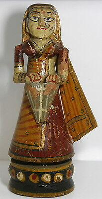 Antique Wooden Hand Painted Figurine