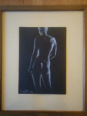 Original A4 Pastel Nude Life Drawing Art Study