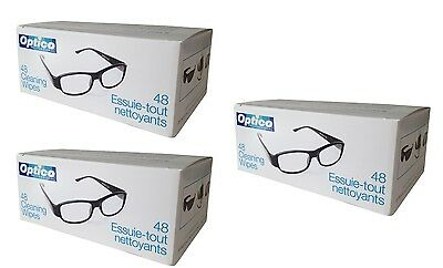 OPTICO Cleaning Wipes for Optical and Electronic Surfaces - 3 boxes of 48 144pcs