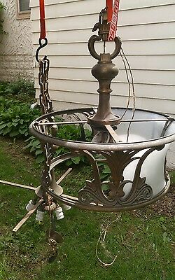 1920's CAST BRASS VINTAGE ART nouveau ANTIQUE Ceiling Light Fixture CHANDELIER