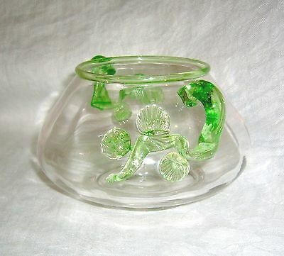 Antique Steuben Art Glass Frederick Carder Mat-Su-Noke Green ~ Clear Vase Bowl