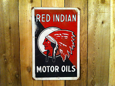 Red Indian Gasoline Metal Sign-US Items ships WA