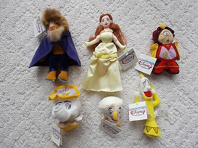 LOT OF 6 Disney Store Beanies Mini Bean Bag BEAUTY AND THE BEAST, NEW!!!