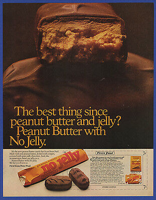 Vintage 1971 NO JELLY Peter Paul Peanut Butter Candy Bar Print Ad 70's