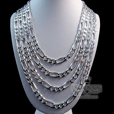 """Mens Womens 925 Sterling Silver 22""""~30"""" X 5Mm Figaro Italian Link Chain Necklace"""