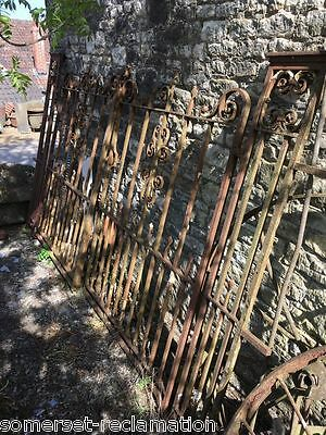 Reclaimed Victorian Pair Large Ornate Wrought Iron Driveway Gates & Pillars 8ft