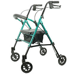 Viverity Deluxe Height Adjustable Aluminum Rollator Green 1 Count *SHIPS FREE!*