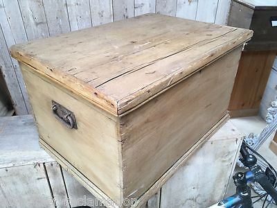 "Reclaimed Victorian Pine Chest With Metal Handles 22"" Long"