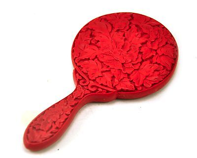 Vintage Chinese Cinnabar Red Hand Held Mirror Porcelain Floral Flower