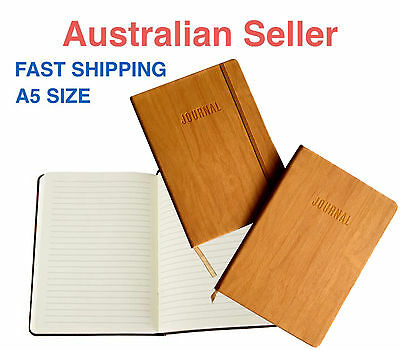 A5 Lined Paper/PU Leather/Elastic/Vintage Brown Wood Notebook/Journal/Hardcover