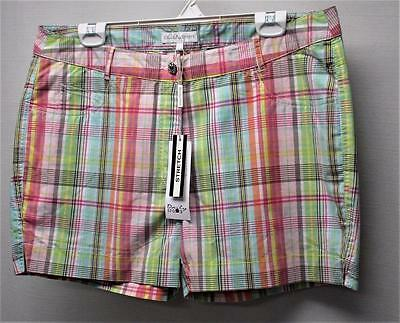 New Ladies Size US 14 Daily Sports Multi coloured plaid golf casual shorts