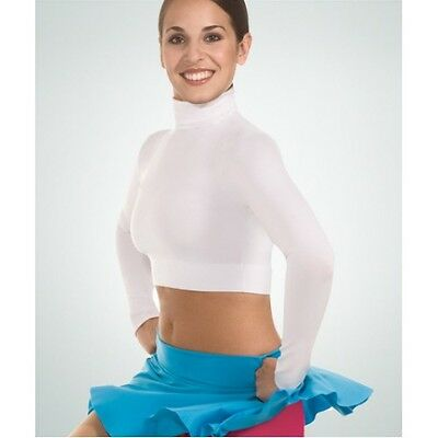 Body Wrappers Long Sleeve Turtleneck Crop Top, Adult Small, White