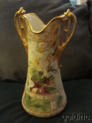 """Outstanding 19th C Hand Painted Floral Nippon 14"""" Vase with Enameling"""
