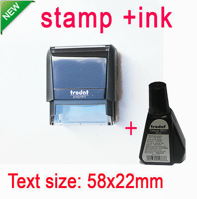 Customized Self Inking Rubber Stamp Business Name Address Logo 58x22mm + ink