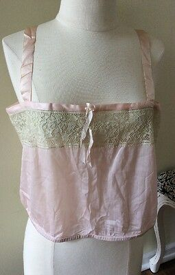 Antique Vintage 1920s Edwardian Pink Satin Cropped Camisole  Ivory LACE Lingerie