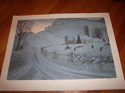 Mel Hunter Signed Numbered Holiday At Sky Farm Beautiful Art Collectible Winter