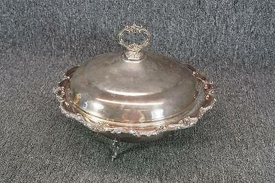 "11.5"" Wide Vintage Elegant Footed Serving Bowl Silver Plated With Lid Jowl"