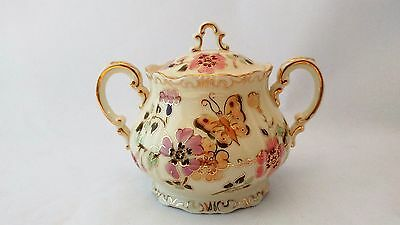 Rare Zsolnay Butterflies & Flowers Handpainted Sugar Bowl With gLid