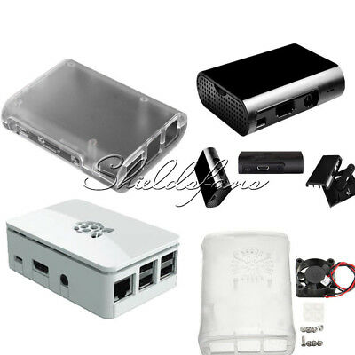 Transparent +Cooling Fan /White/Black ABS Cover Box Case For Raspberry Pi 3, 2