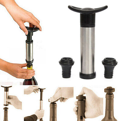 New Stainless Bottle Vacuum Wine Preserver Saver Sealer Pump With 2 Stoppers