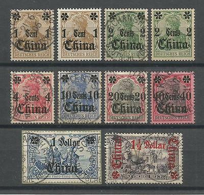 DEUTSCHE POST IN CHINA 1905 Mi # 28-36; 10 BRIEFMARKEN  (LS)
