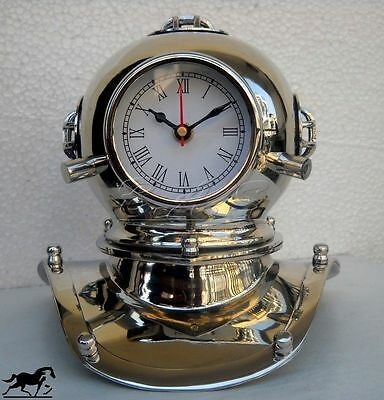 U-S Navy Antique Solid Brass Nickle Diving Divers Helmet With Clock Gift