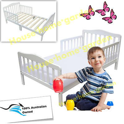White Toddler Bed with Guard Safety Rail Kids Wooden Bed Nurse Bedroom Furniture