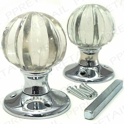 2 x SOLID GLASS PUMPKIN MORTICE KNOBS Sprung Inside Door Latch Handle Pair Set