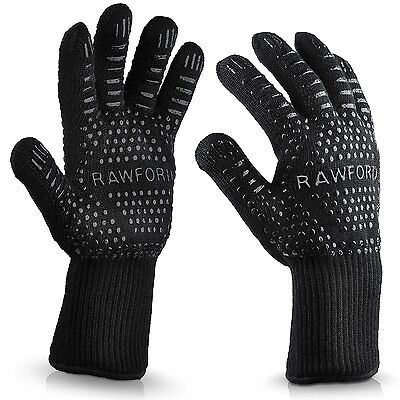 Hot BBQ Grilling Cooking Gloves Extreme Heat Resistant oven Gloves Black