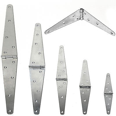2 x HEAVY DUTY STRAP HINGES PAIR ~SMALL-LARGE~ GALVANISED T Ladders/Gate/Trailer
