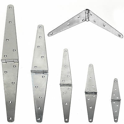 2x HEAVY DUTY STRAP HINGES PAIR SMALL-LARGE GALVANISED T Ladders/Gate/Trailer