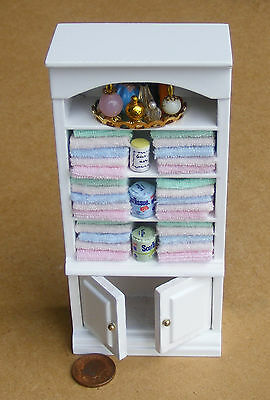 1:12 Scale White Cupboard & Mixed Towels & Accessories Dolls House Miniature