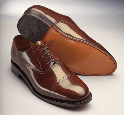 Samuel Windsor Mens Shoes Classic Oxford Handmade Chestnut Brown Leather Lace Up