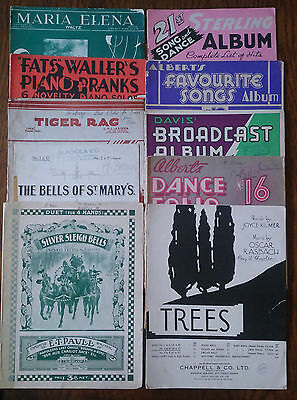 Bulk Lot of 10 Vintage Antique Sheet Music Books for Piano/Ukulele