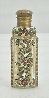 1900s Indian Antique Hand Crafted Painted Glass Perfume Bottle Brass Cap