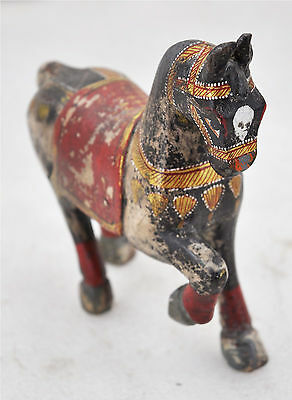 1950s Indian Vintage Hand Crafted Fine Hand Painted Wooden Horse Figurine