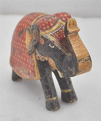1950s Indian Vintage Hand Carved Fine Painted Wooden Elephant Figurine