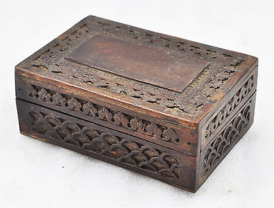 Antique Style Hand Crafted Carved Wooden Small Jewellery Box Dark Brown