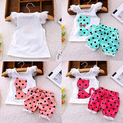 Summer Toddler Kids Baby Girl Bow Cat Shirt Tops+Shorts Pants Outfit Clothes Set