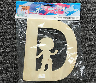 "SHAMROCK ""Boy #D"" Wooden Character Alphabet Letters DIY Raw Ply Wood **NEW**"