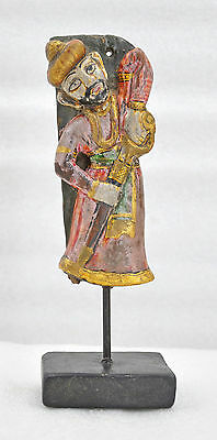 1950s Indian Vintage Hand Carved Fine Painted Wooden Musician Figurine