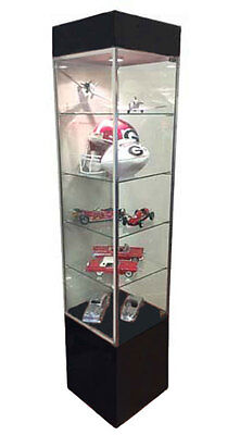 Tower Showcase Glass Retail Display Case LED Lighting Lights Assembled Black NEW