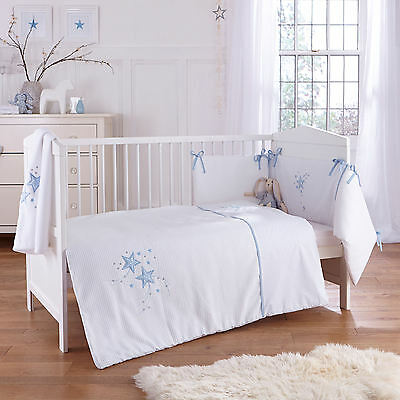 New 4Baby Twinkle Blue Cot / Cot Bed 2 Piece Boys Quilt & Bumper Bedding Set