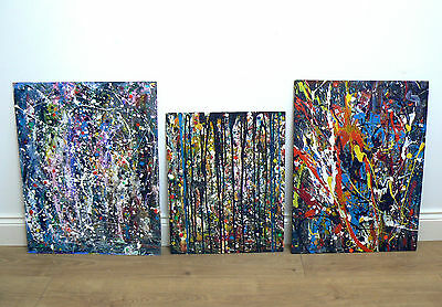 3x ORIGINAL ABSTRACT PAINTINGS BY TERENCE HOWE - wall art pictures expressionist