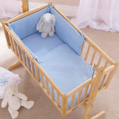 New 4Baby Shooting Star Blue Rocking Crib / Cradle Quilt & Bumper Bedding Set