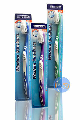 WISDOM SMOKERS TOOTHBRUSH EXTRA HARD TOOTHBRUSH. 1,3,6, & 12 packs available.