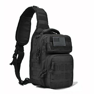 Tactical Sling Bag Military Backpack Pack Rover Small Shoulder Sling Molle Black