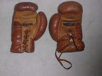 Antique/vintage English Brown Leather  Boxing Gloves.