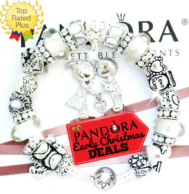 "PANDORA Silver Bracelet ""LOVE STORY"" VALENTINE Gold Kissing European Charms. New"