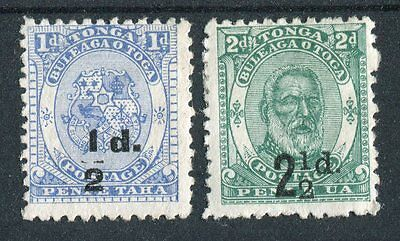 Tonga QV 1893 black surcharges SG19 SG20 mounted mint